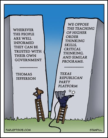 texas republican critical thinking To illustrate the republican animosity toward education, in 2012, the republican party of texas tried to outlaw the teaching of critical thinking skills in that state's public schools.