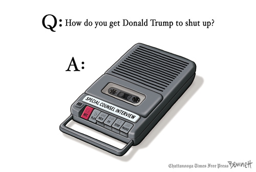 Title:  How To Get Donald Trump To Shut Up.  Image:  Tape recorder labeled