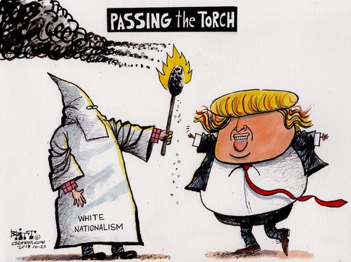 Title:  Passing the Torch.  Image:  Man in KKK sheet labeled