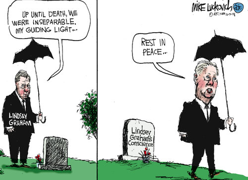 Lindsey Graham standing in cemetary talking to a grave.  Frame One:  He says,