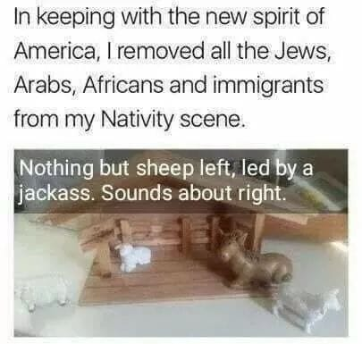 Caption:  In keeping with the new spirit of America, I removed all the Jews, Arabs, Africans, and immigrants from my Nativity Scene.  Image:  Stable containing only a sheep and a donkey.