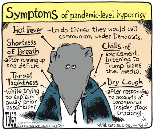 Title:  Symptoms of pandemmic-level hypocrisy.  Image of Republican Elephant with arrows pointing to it labeled,