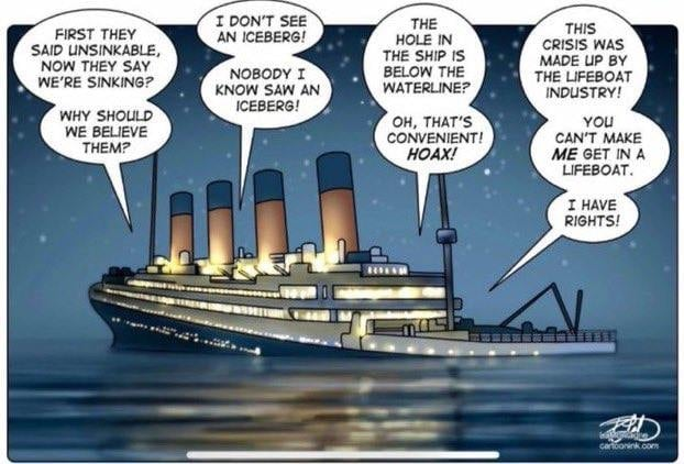 As the Titanic slips beneath the waters, voices can be heard saying,