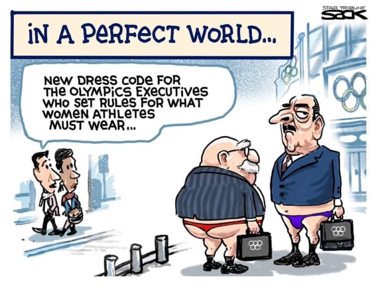 Title:  In a Perfect World.  Image:  Two old white men wearing suit jackets and bikini bottoms and carrying brief cases bearing the Olympics logo.  Passerby says to his companiong,