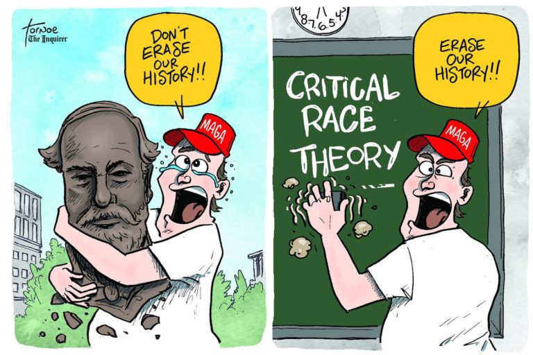 Frame One:  MAGA-hatted man hugging statue of Robert E. Lee:  Don't erase our history!  Frame Two:  MAGA-hatted man erasing