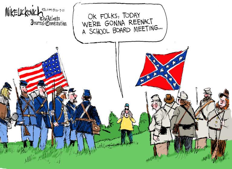 Two groups of Civil War reenactors.  Man in charge says,
