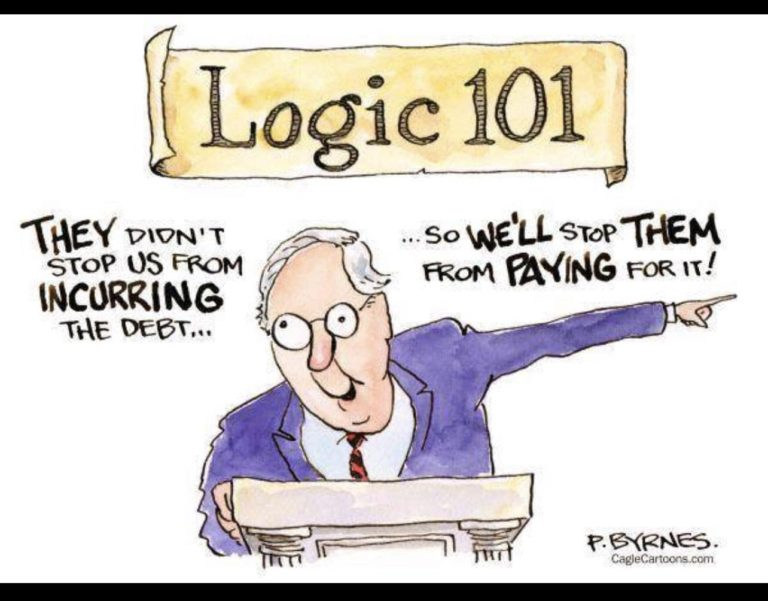 Title:  Logic 101.  Image:  Mitch McConnell at podium saying,
